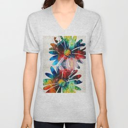 Colorful Daisy Art - Hip Daisies - By Sharon Cummings Unisex V-Neck