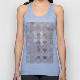 Hexagonal Honeycomb Marble Rose Gold Unisex Tank Top
