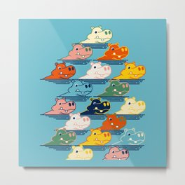 Happy Hippo Family Metal Print
