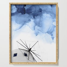 Blue Abstract Painting, Windmill Photography Serving Tray