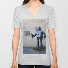 Banksy, Robot Unisex V-Neck