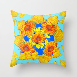 Turquoise-gold Sunflowers Leaves Pattern Abstract Throw Pillow
