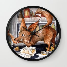 It is the foxy fennec who purged whole fridge Wall Clock