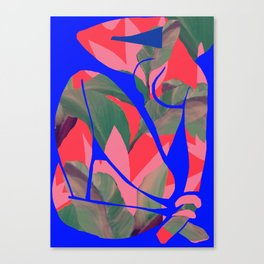 Blue Nude  (Neon red after Matisse) Canvas Print