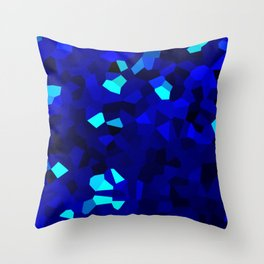 Dark Navy Blue Abstract Shape Stained Glass Throw Pillow