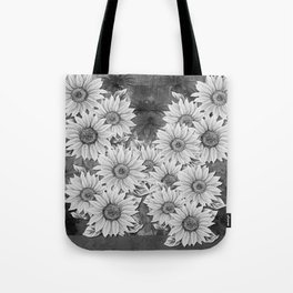 Watercolor Sunflower Pattern (Black and White) Tote Bag