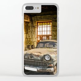 Old Car in a Garage Clear iPhone Case