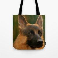 german shepherd Tote Bags featuring German Shepherd  by Becky's Digital Art