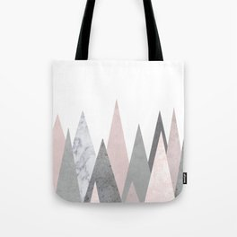 BLUSH MARBLE GRAY GEOMETRIC MOUNTAINS Tote Bag