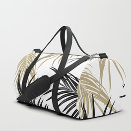 Gold Black Palm Leaves Dream #1 #tropical #decor #art #society6 Duffle Bag