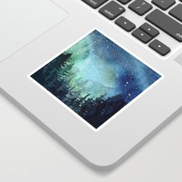 Galaxy Watercolor Aurora Borealis Painting Sticker
