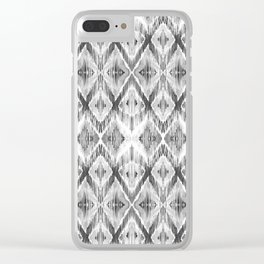 Black and White Watercolour Ikat Pattern Clear iPhone Case