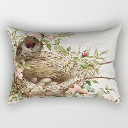 Vintage Bird with Eggs in Nest Rectangular Pillow