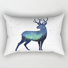 Galaxy Reindeer Silhouette with Northern Lights Rectangular Pillow