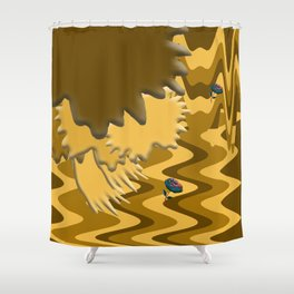 Shades of Brown Waves Shower Curtain