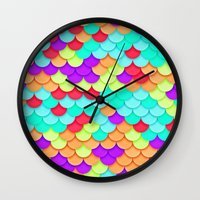 scales Wall Clocks featuring Scales by White Wolf Wizard