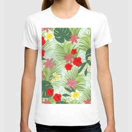 Palm Leaves, Red Hibiscus, Frangipani and Lily. Tropical Pattern T-shirt