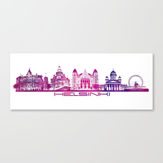 Helsinki skyline purple by jbjart