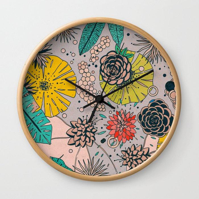 Olga loves flowers Wall Clock