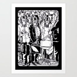 subway station apes Art Print