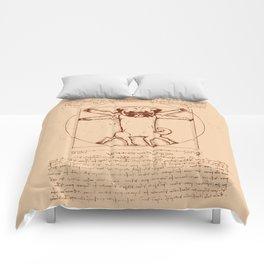 Vitruvian pug Comforters
