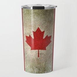 Old and Worn Distressed Vintage Flag of Canada Travel Mug