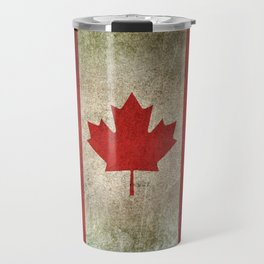 Old and Worn Distressed Vintage Flag of Canada Travel Mug