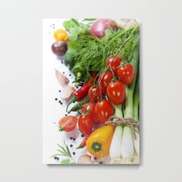 fresh vegetables on the white background - healthy or vegetarian eating concept Metal Print