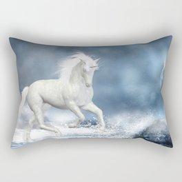 White Unicorn Rectangular Pillow