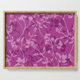 Purple flowers, leafs and plants Serving Tray