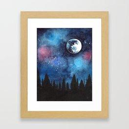 watercolour night sky Framed Art Print