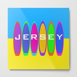 Jersey Text on Surfboards on the Beach Metal Print