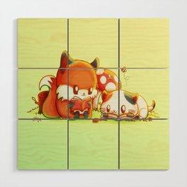 Bookish Fox and Cat Friends Wood Wall Art