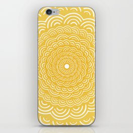 Spiral Mandala (Yellow Golden) Curve Round Rainbow Pattern Unique Minimalistic Vintage Zentangle iPhone Skin