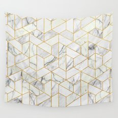 Marble hexagonal pattern Wall Tapestry