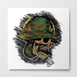 zombie with military helmet. Metal Print