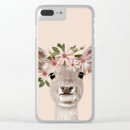 Baby Deer Print, Baby animal, Flower crown, Woodlands Decor, Wall Art, Animals Print, Woodlands Clear iPhone Case