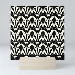 Art Deco Fans 1.3 Black Background Silver & Cream Mini Art Print