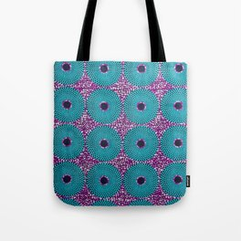 Turquoise Donuts African Ankara Delight Tote Bag