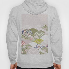 scales simple Nature background with japanese sakura flower, rosy pink Cherry, wave circle pattern Hoody