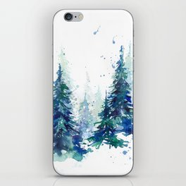 Watercolor winter fir forest iPhone Skin
