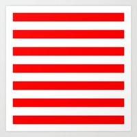 stripes Art Prints featuring Horizontal Stripes (Red/White) by 10813 Apparel