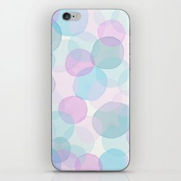 Watercolor circles pink and blue iPhone Skin