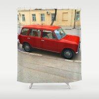 grand theft auto Shower Curtains featuring Retro auto. by Mikhail Zhirnov
