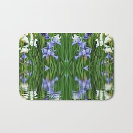 PURPLE IRIS WATER GARDEN  REFLECTION Bath Mat