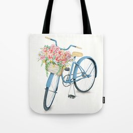 Blue Bicycle with Flowers in Basket Tote Bag