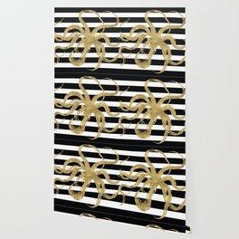 Gold Octopus on Black & White Stripes Wallpaper