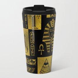 Egyptian  Gold hieroglyphs and symbols collage Travel Mug