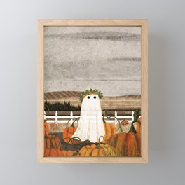 There's a Ghost in the Pumpkins Patch Again... Framed Mini Art Print