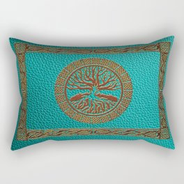 Tree of life  -Yggdrasil  - Embossed Faux Teal & Brown Leather Rectangular Pillow